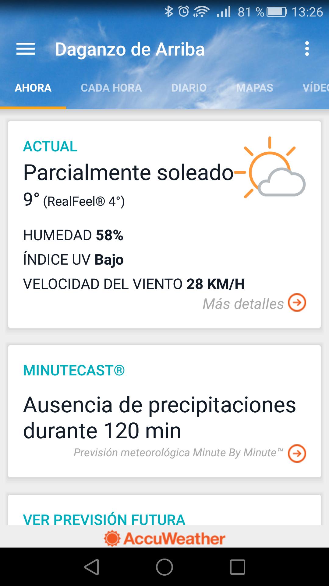Interfaz de la aplicaicón AccuWeather para Android
