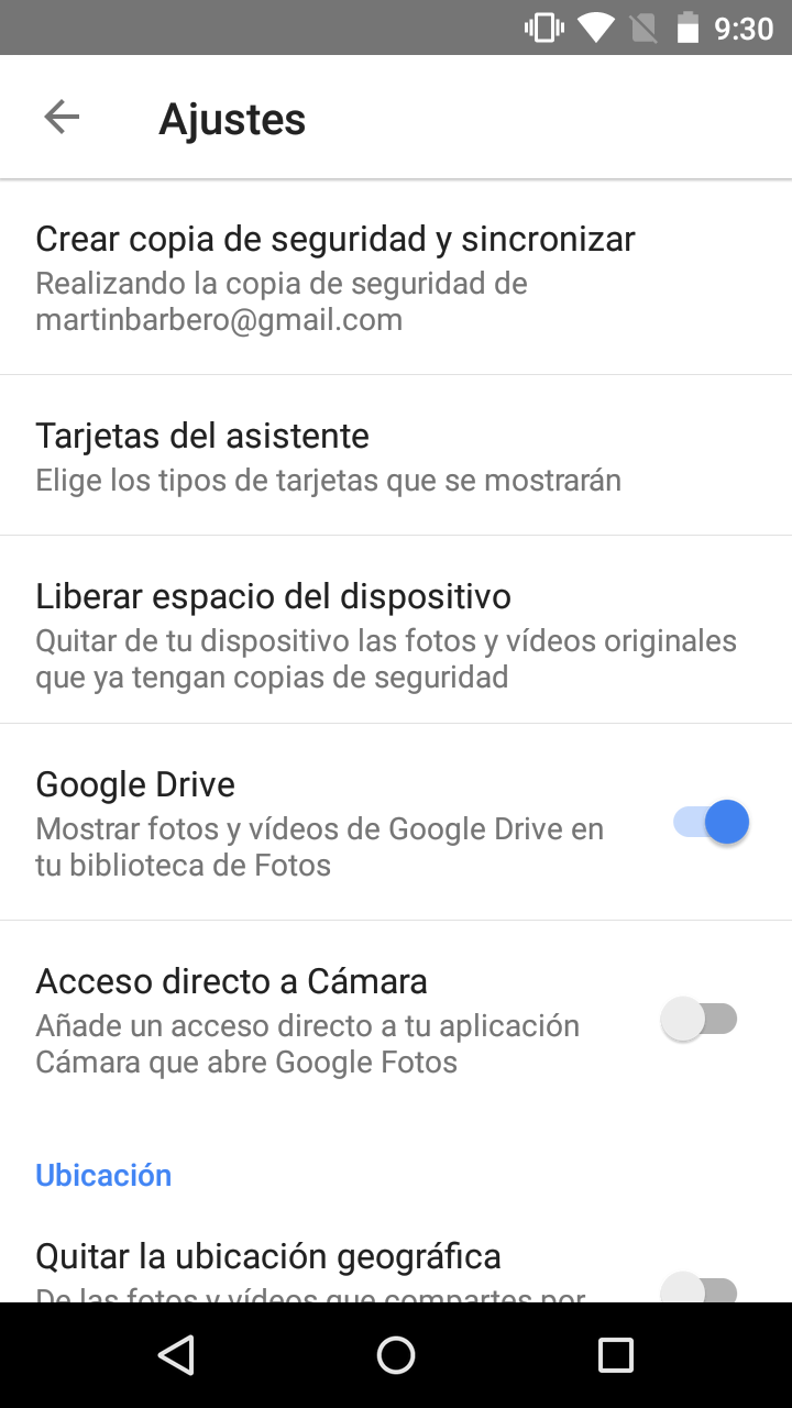 Opciones de los Ajustes en Google Fotos
