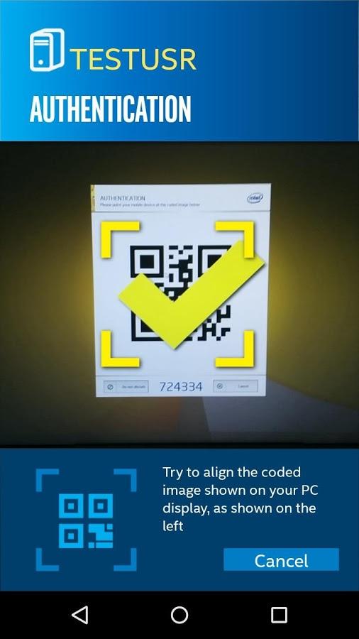 Código QR para Android en Intel Remote Keyboard
