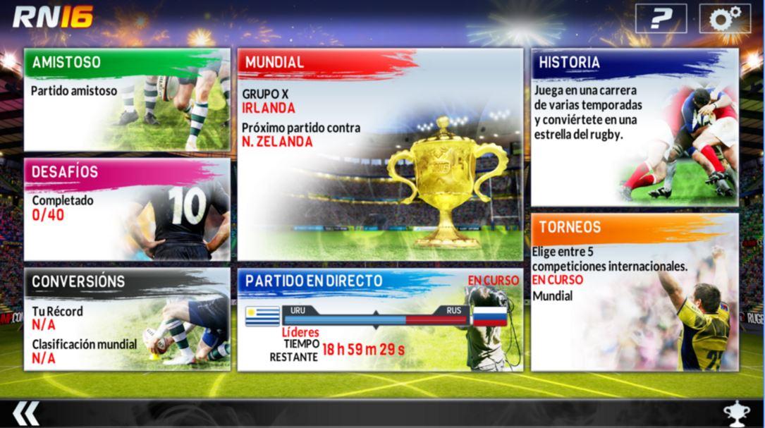Interfaz del juego Rugby Nations 16