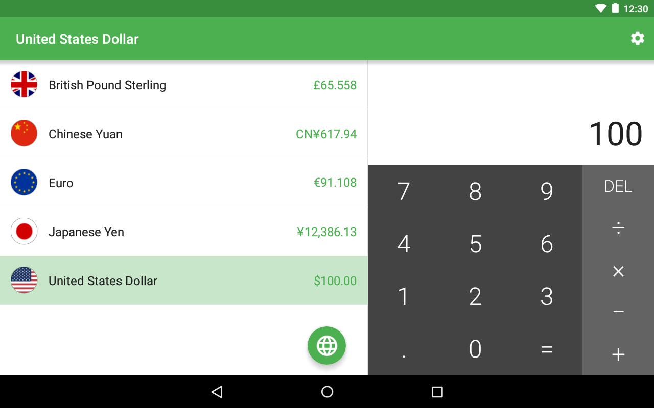 Aplicación Currency para Android