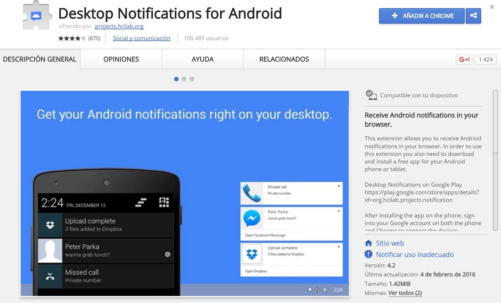 Extensión Desktop Notifications for Android