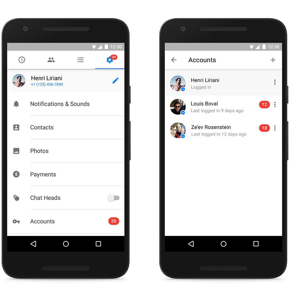 Uso de la multicuenta en Facebook Messenger