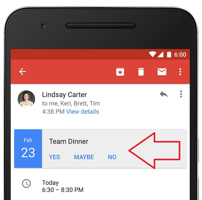 Invitaciones en Gmail