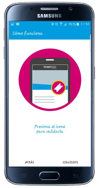 Selecciónd e la entrada en la aplicación TicketPass for Samsung