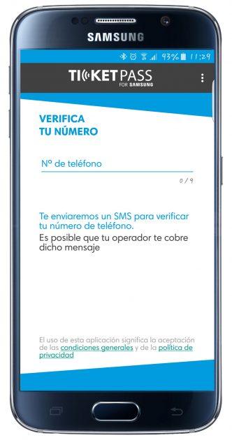 Proceso de alta en TicketPass for Samsung