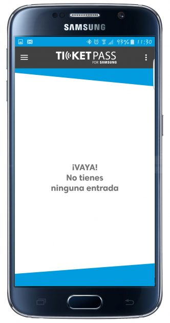Interfaz de TicketPass for Samsung