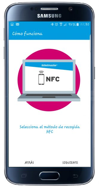 Uso NFC en TicketPass for Samsung