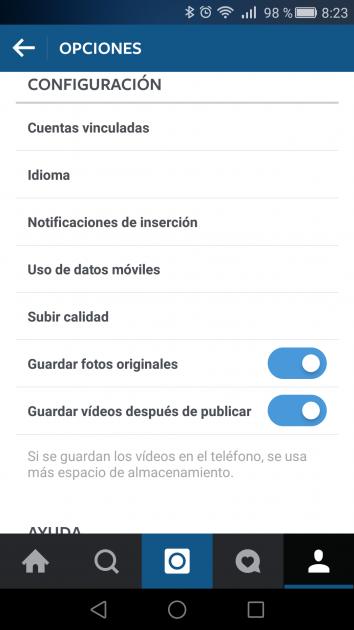 Opciones de Instagram para Android