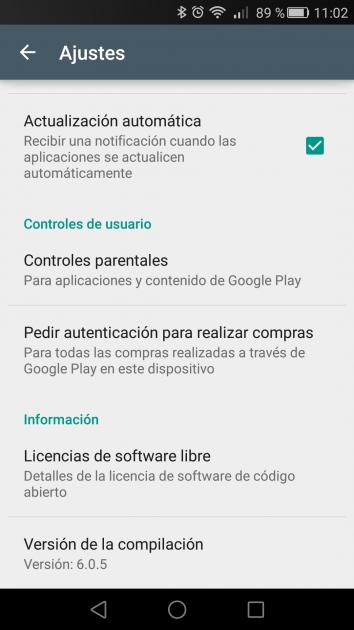 Versión y actualización de Play Store