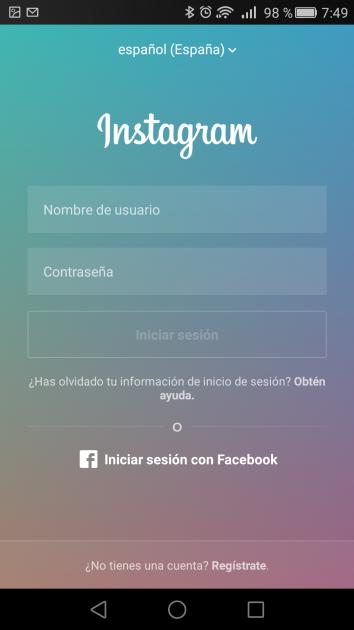 Alta de cuenta en Instagram para Android