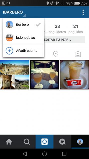 Varias cuentas en Instagram para Android