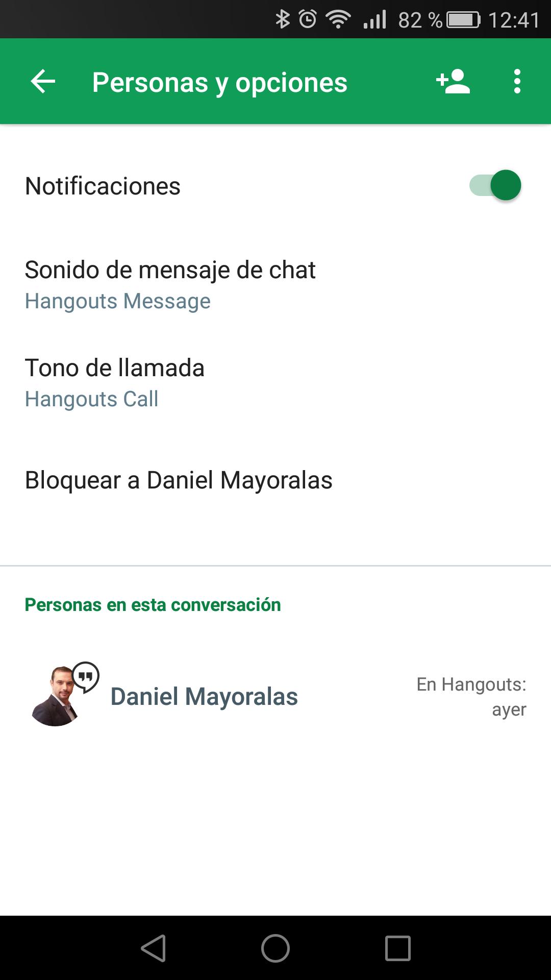 Notificaciones en la aplicación Hangouts