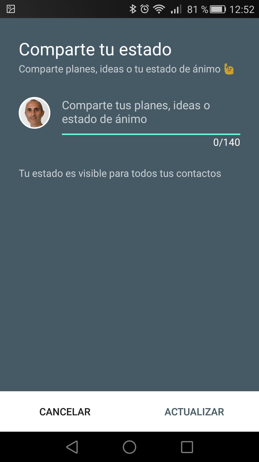 Cambio de estado en Hangouts