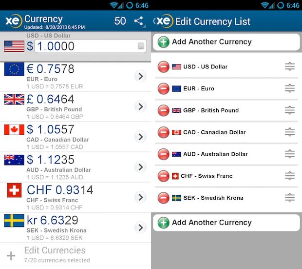 Aplicación XE Currency