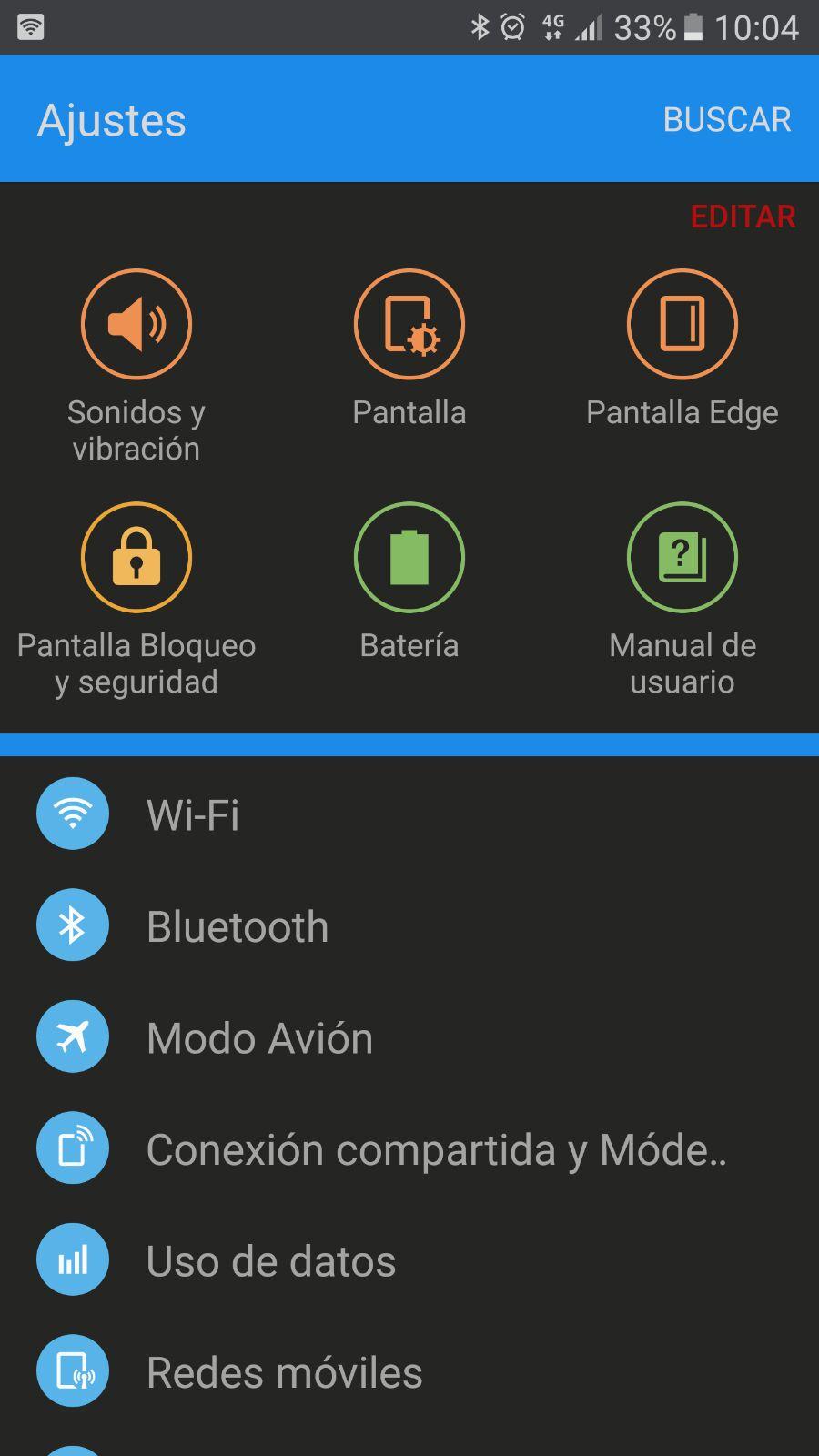 Ajustes del Samsung Galaxy S7
