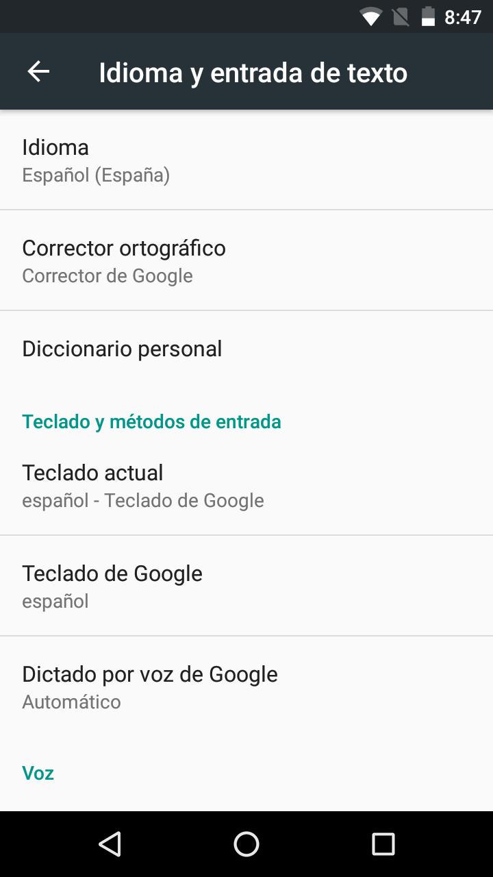 Ajustes del teclado de Google en un terminal Android
