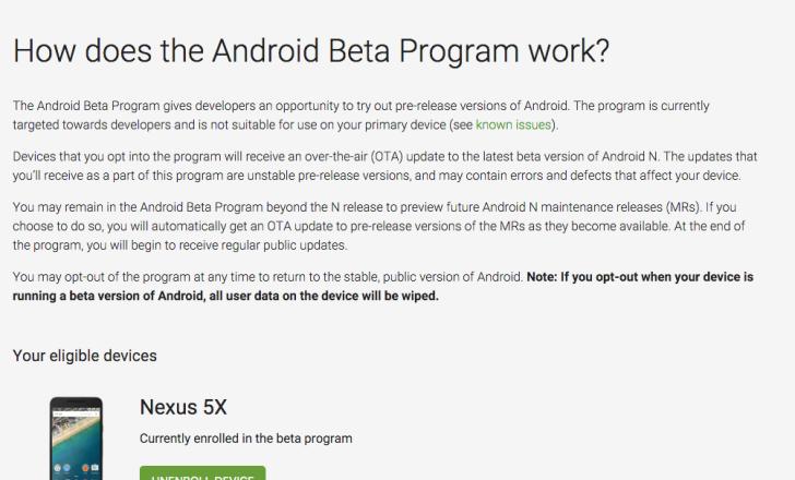 Inicio de Android Beta Program