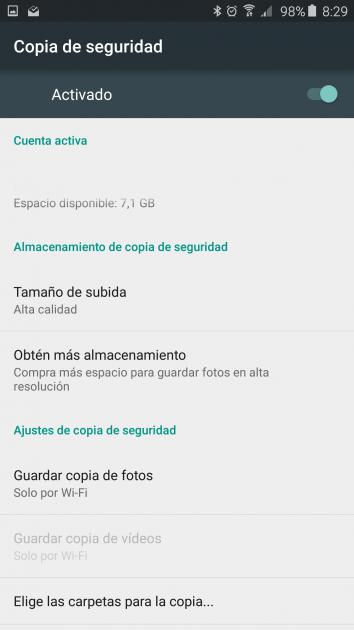 Opciones copia de seguridad en Google Fotos