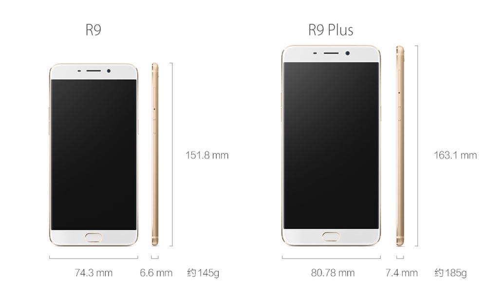 Dimensiones de los neuvos Oppo R9 y R9 Plus
