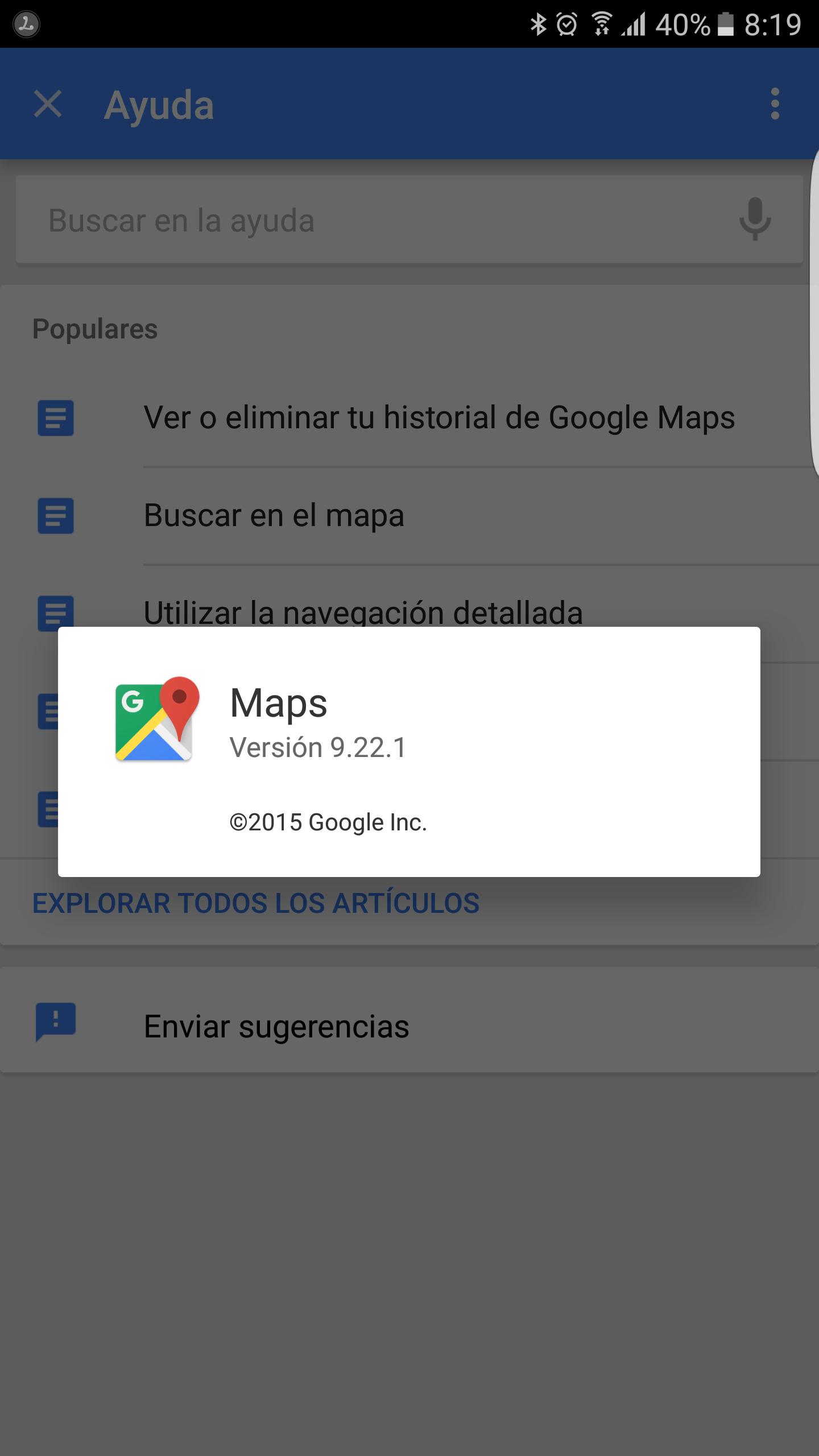 Nueva versión Google Maps 9.22