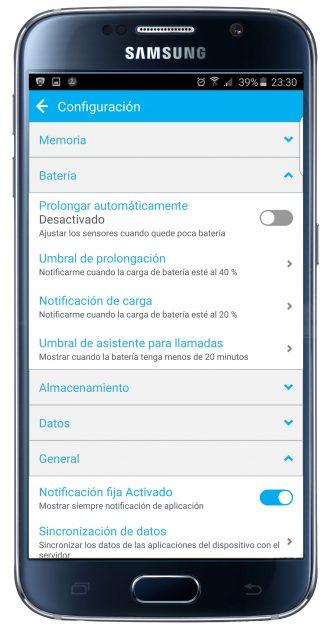 Ajustes de la aplicación Battery Optimizer