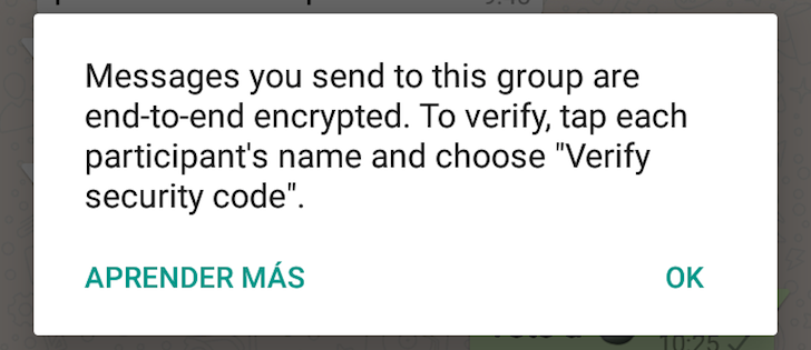 Mensaje de encriptación en WhatsApp