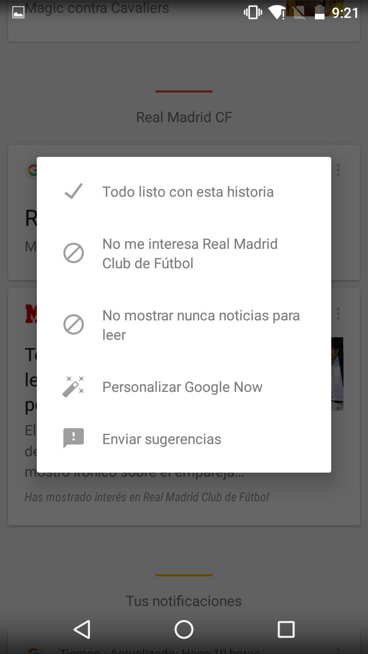 Opciones en las noticias de Google Now
