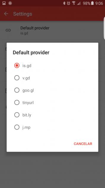 Selección en URL Shortener