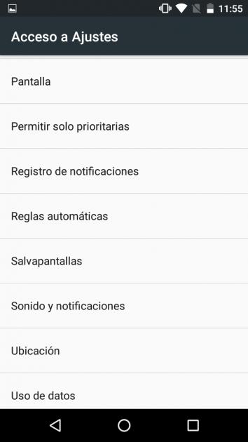 Opciones widget ajustes Android