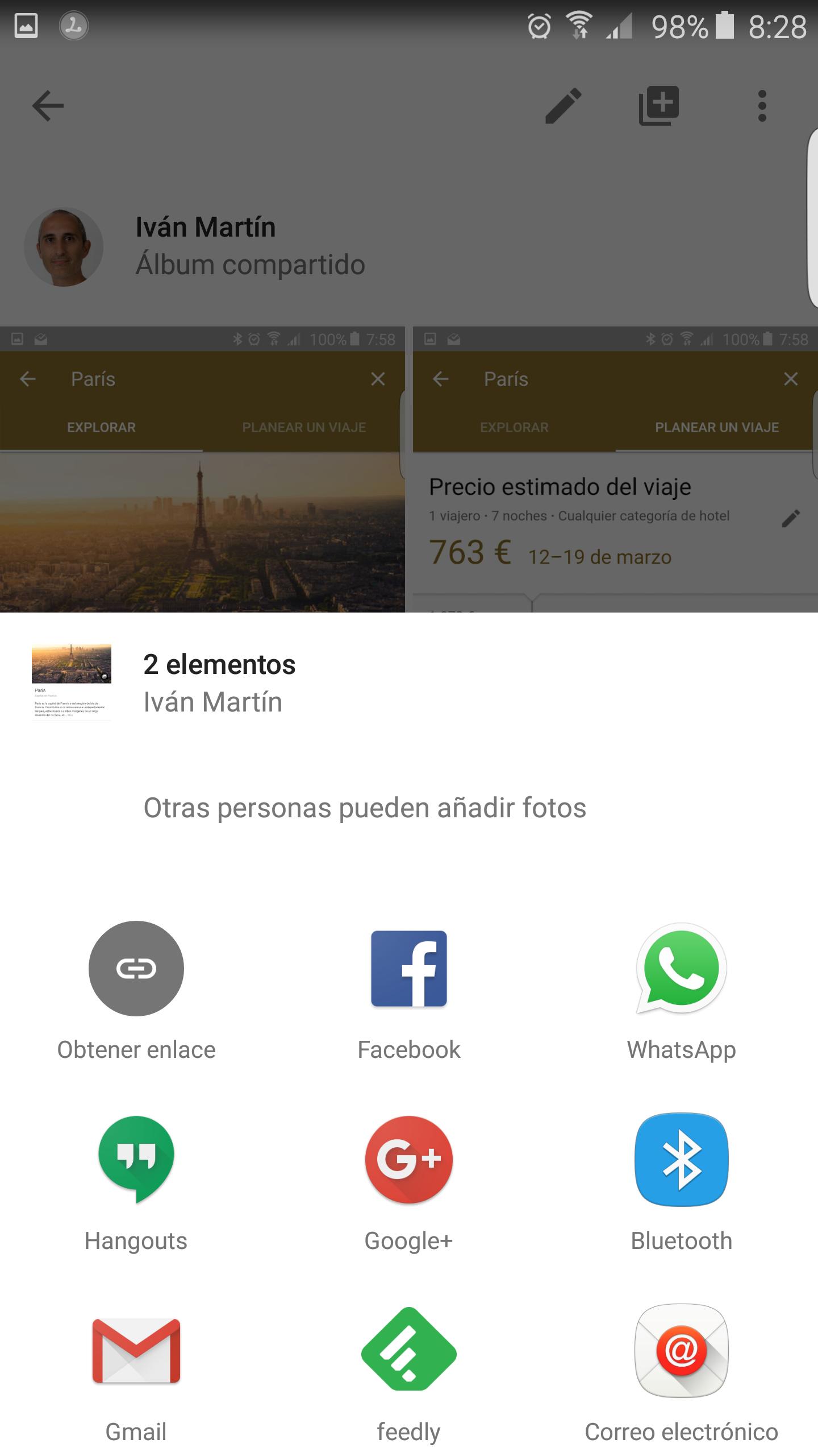 Opciones para compartir un Álbum en Google Fotos