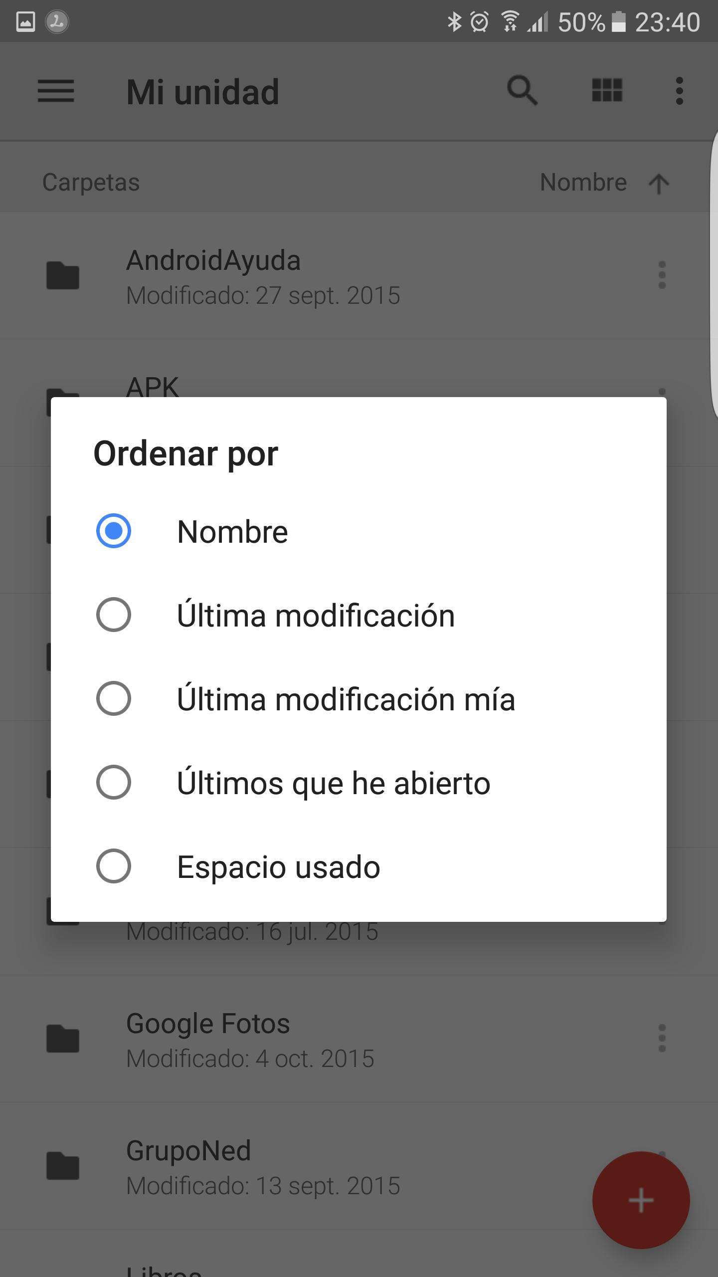 Selección de orden en Google Drive
