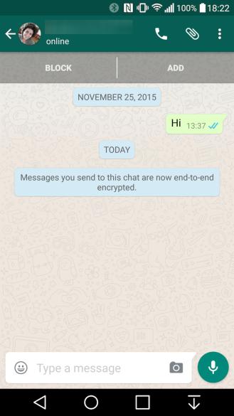 Encriptación punto a punto en WhatsApp para Android