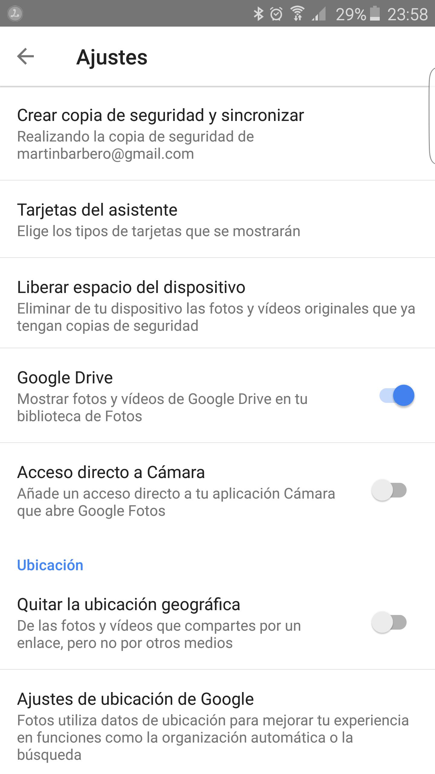 Ubicación activada en Google Fotos