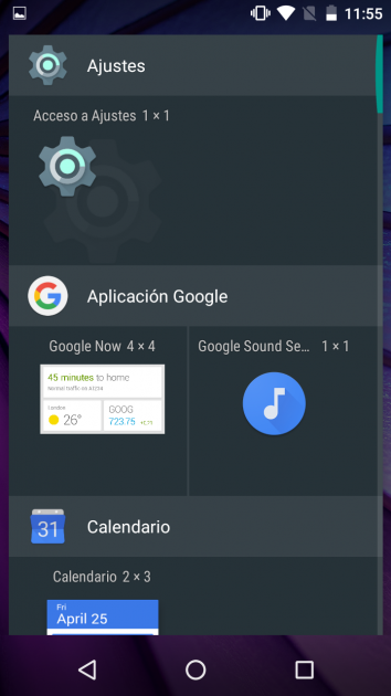 Widget Ajustes Android