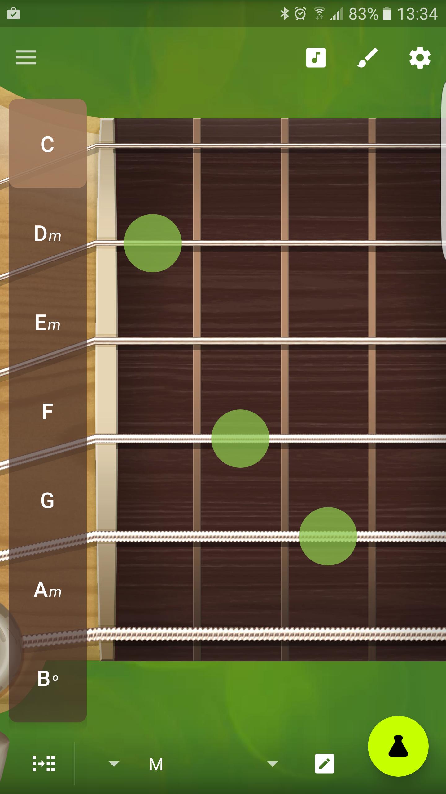 Interfaz de la aplicación Robotic Guitarist