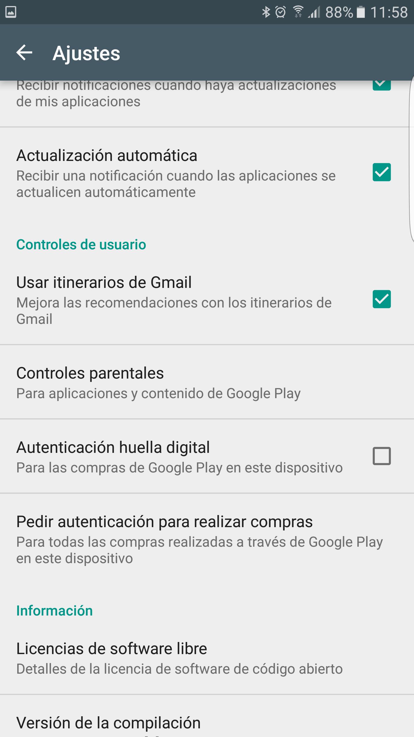 Activar huella digital en Play Store