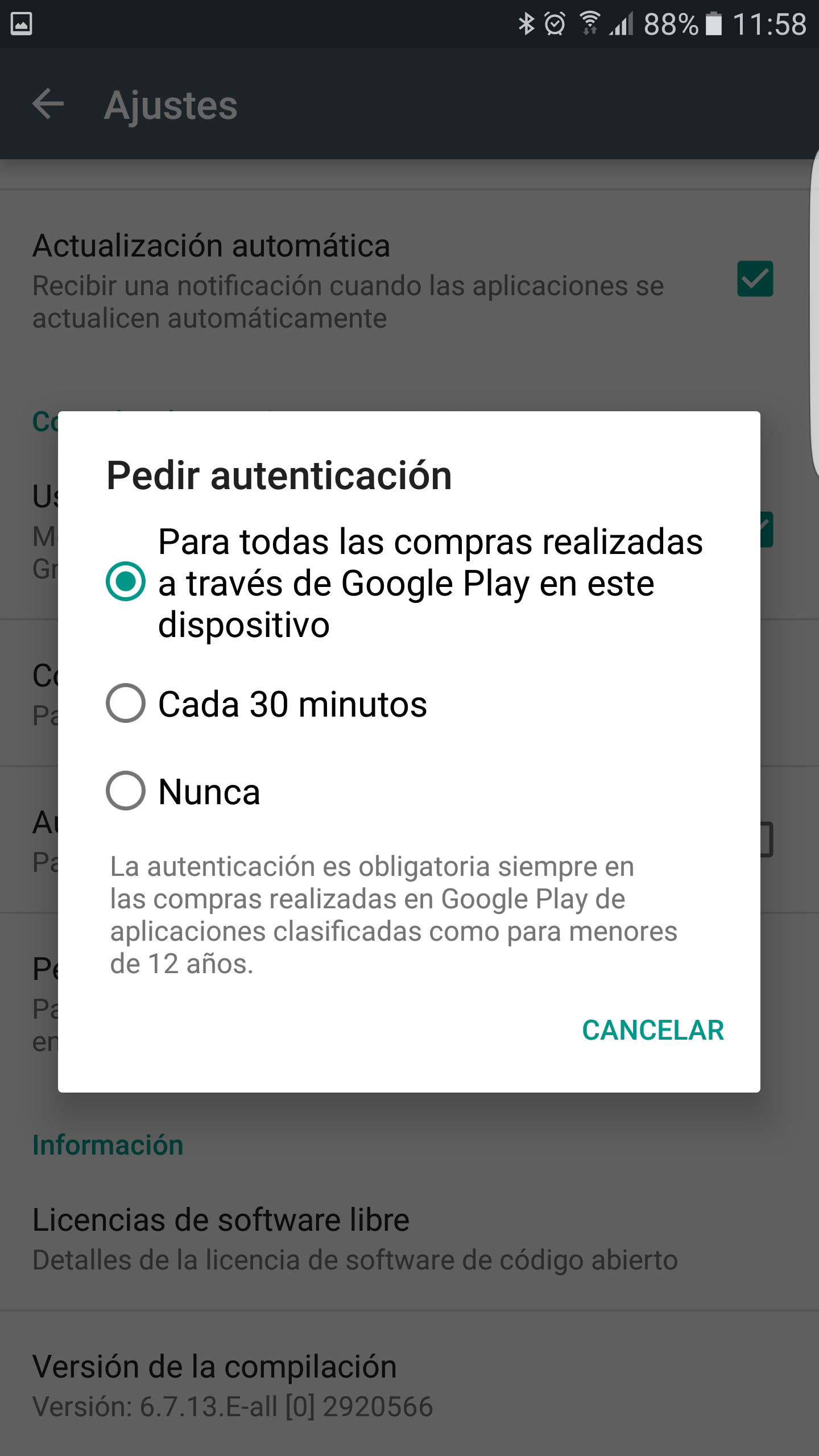 Opciones de autenticación en Play Store