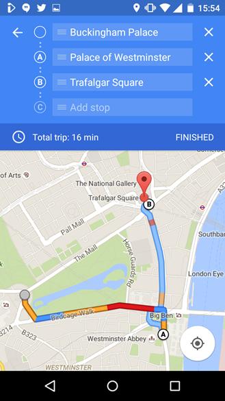 Varios destinos en Google Maps