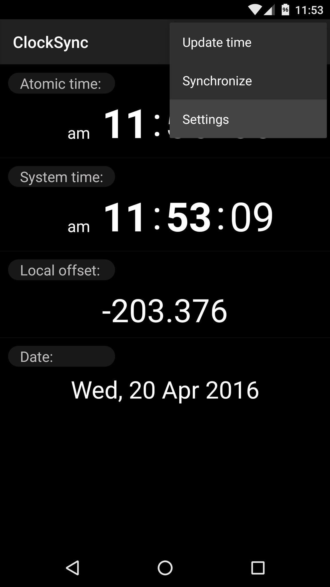 Interfaz de ClockSync