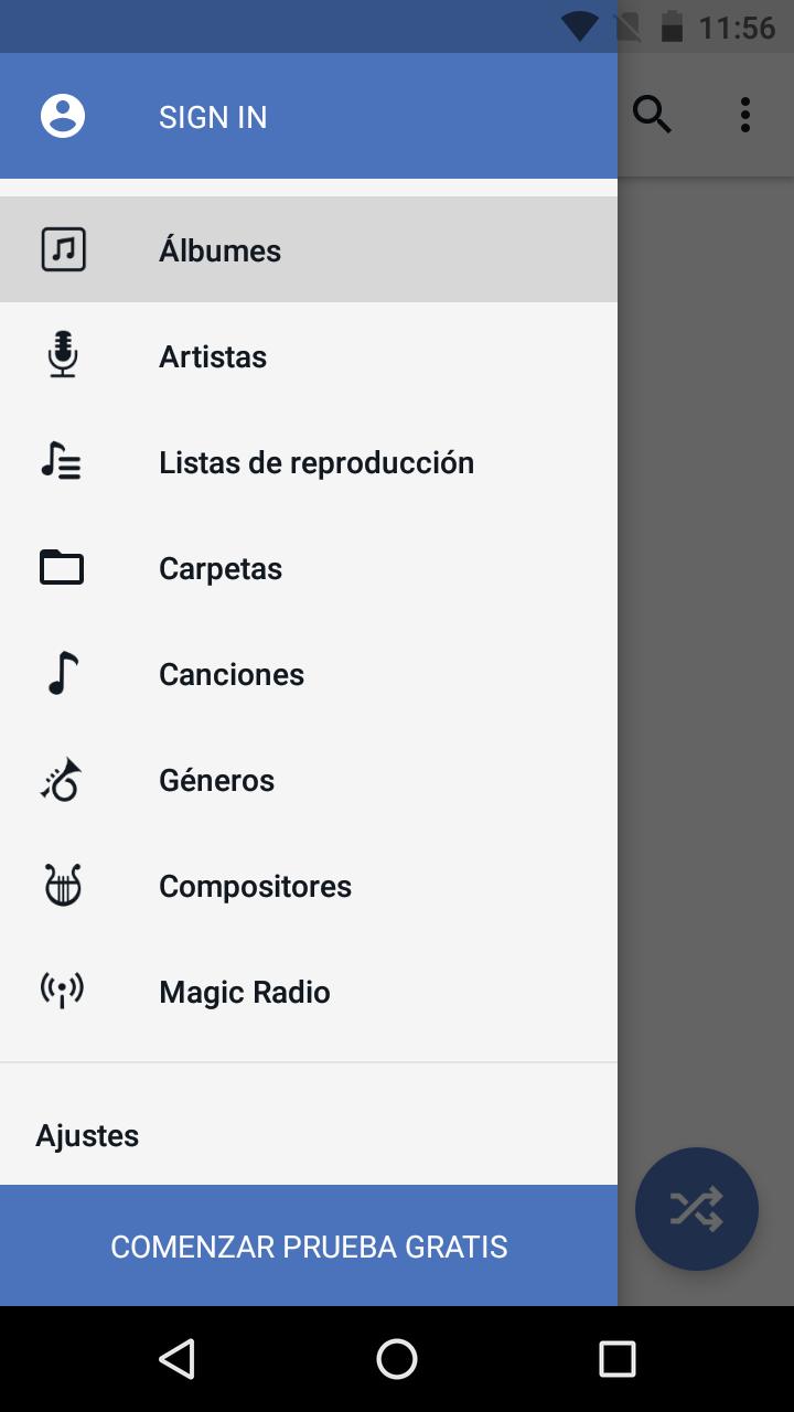 Interfaz de la aplicación CloudPlayer