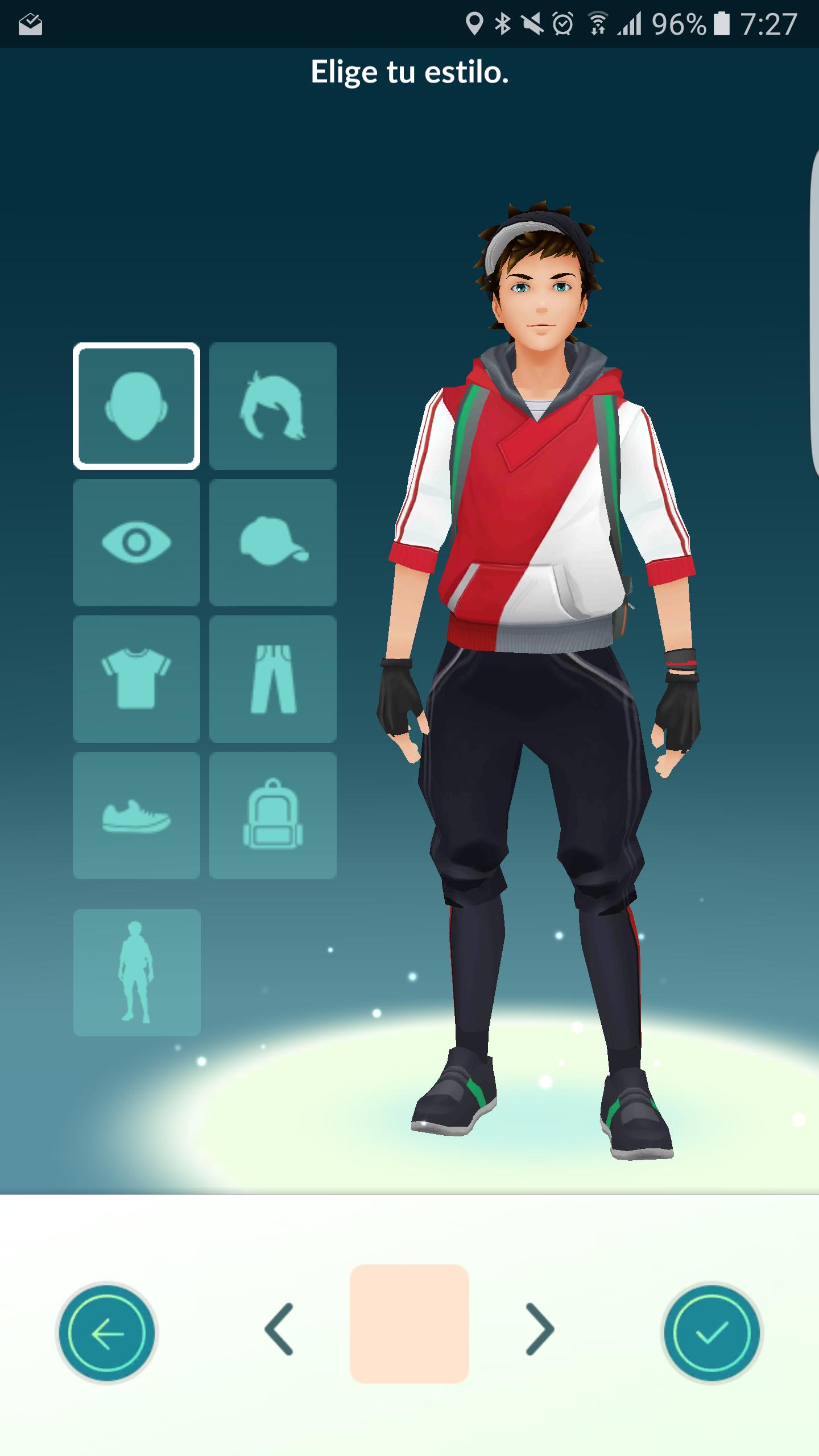 Interfaz de cambio de avatar en Pokémon GO