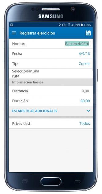 Información actividad en MapMyRun