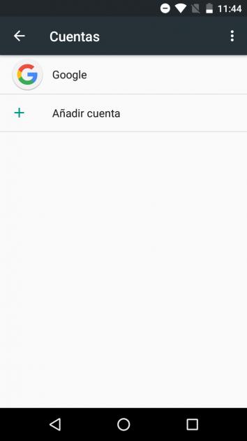 Cuentas en los Ajustes Android