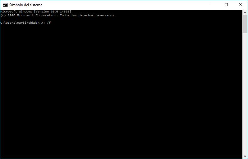 Pantalla de líena de comandos en Windows con