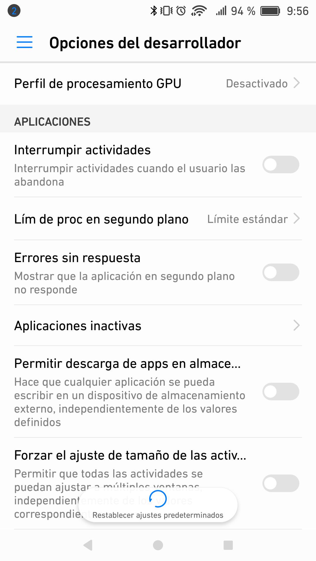 Opciones de desarrollador en Android 7.0