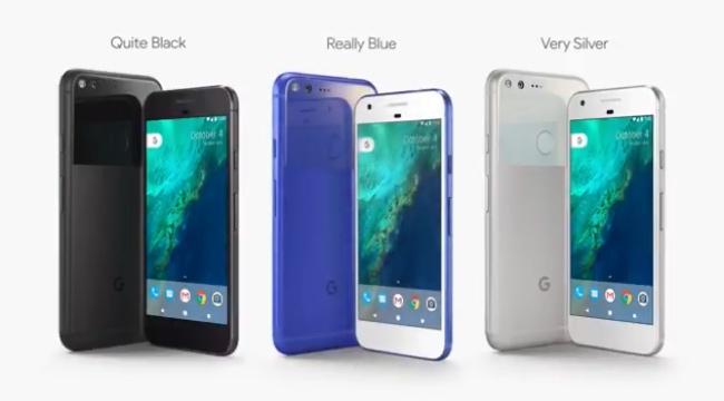 Tres colores de los Google Pixel: Negro, Plata y Azul