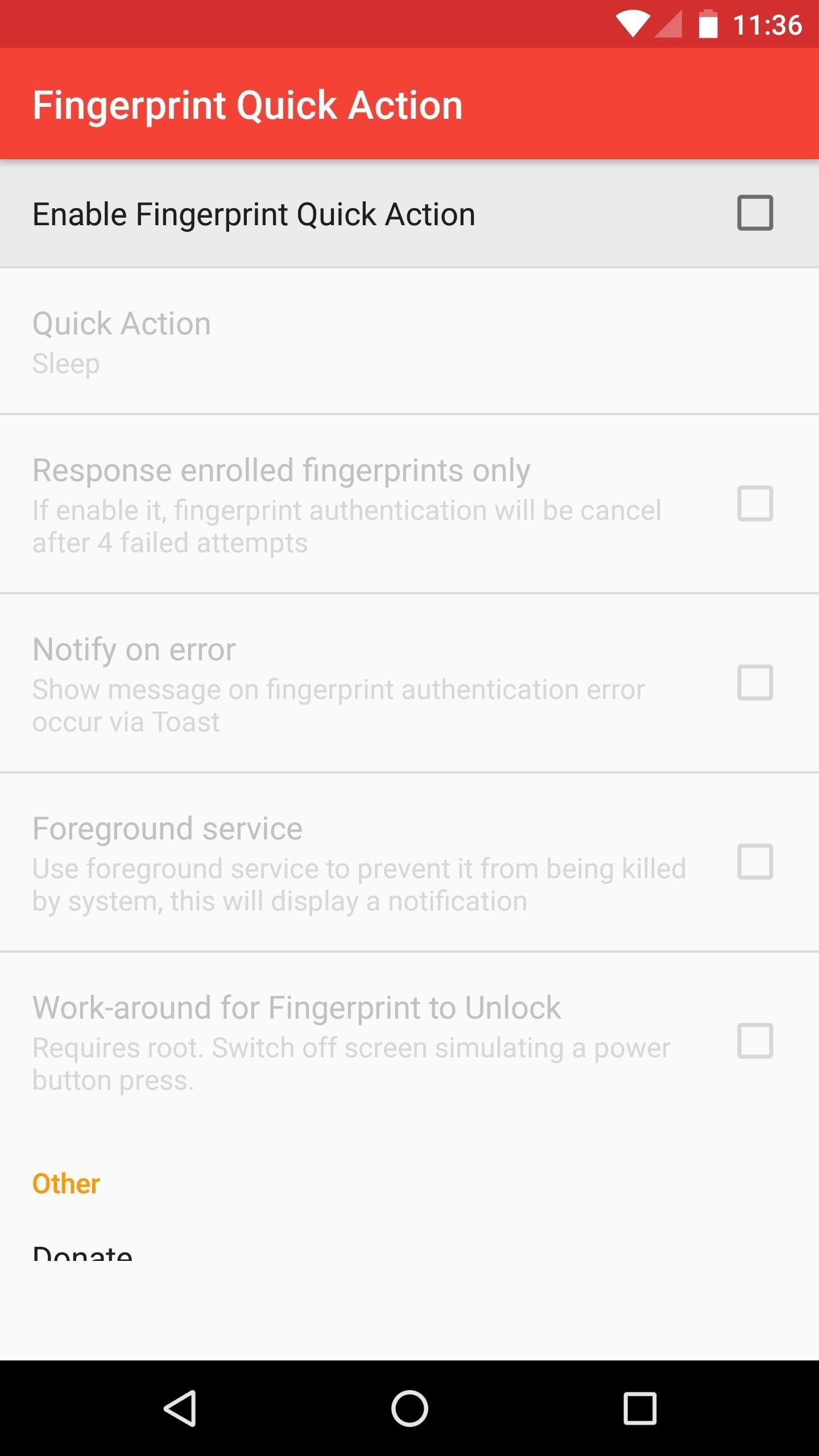 Fingerprint Quick Action App