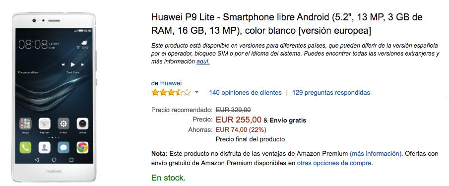 precio Huawei P9 Lite amazon