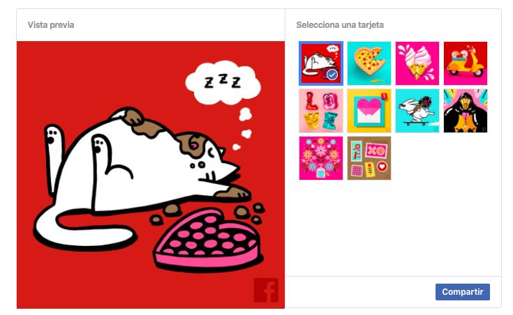 tarjetas de San Valentín Facebook